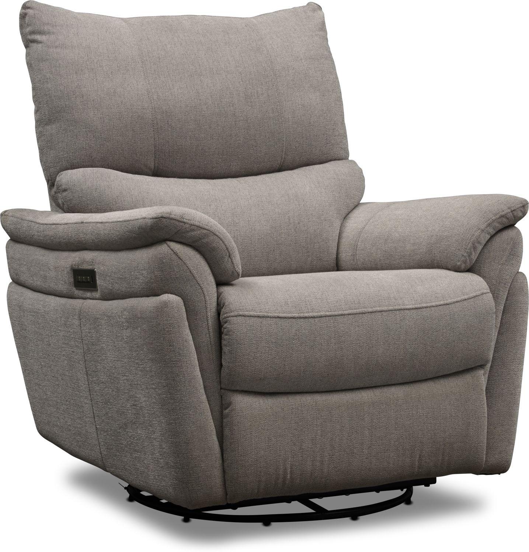 Living Room Furniture - Maddox Triple-Power Reclining Swivel Recliner