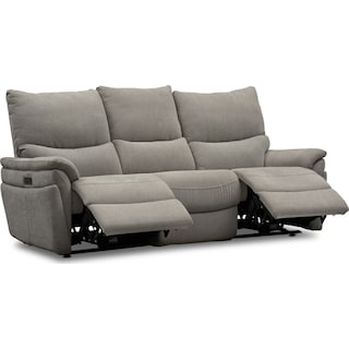 Maddox Triple Power Reclining 2-Piece Sofa - Platinum