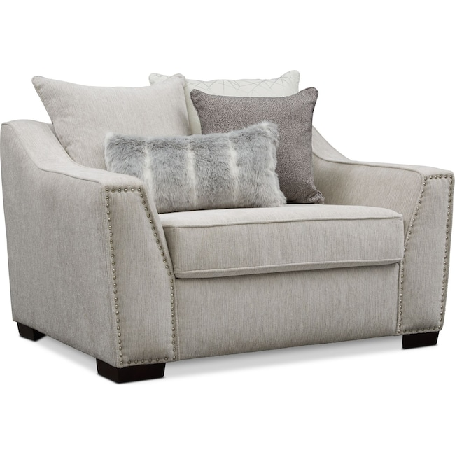 Living Room Furniture - Roxie Chair and a Half - Gray