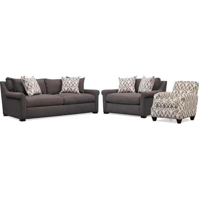 Living Room Furniture - Robertson Sofa, Chair and a Half, and Accent Chair - Brown