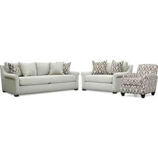 Robertson Sofa, Chair and a Half, and Accent Chair - Gray