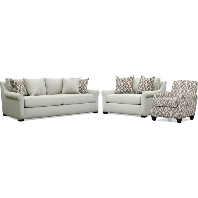 Living Room Furniture - Robertson Sofa, Chair and a Half, and Accent Chair