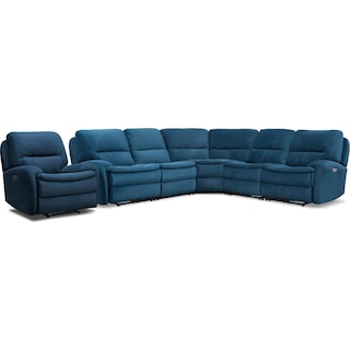 Cruiser 5-Piece Dual Power Reclining Sectional and Recliner Set - Ink
