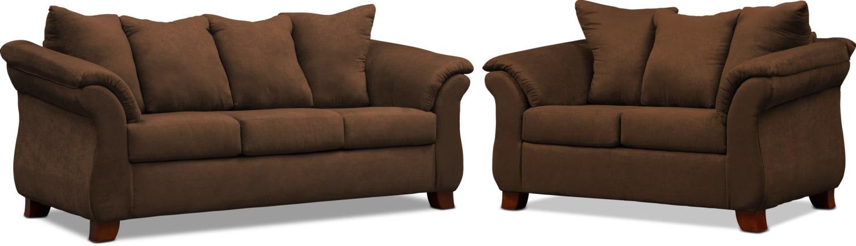 Living Room Furniture - Adrian Sofa and Loveseat Set