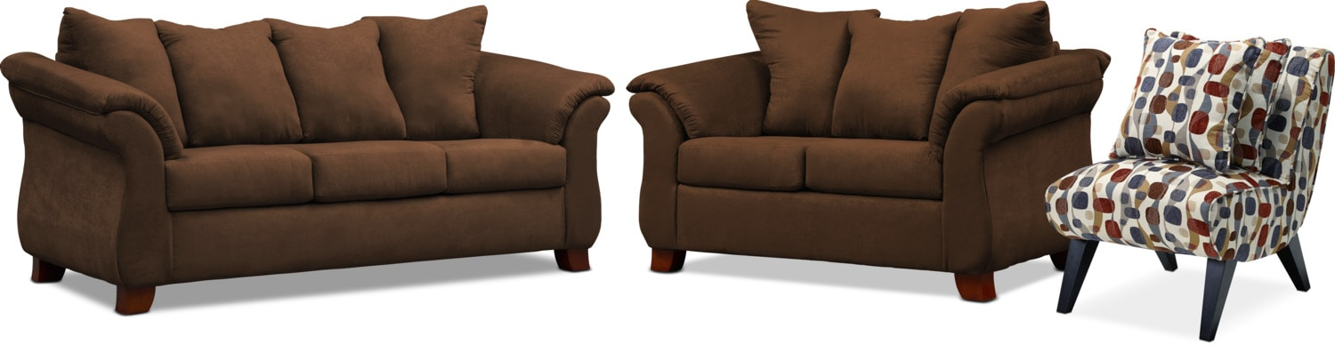 Living Room Furniture - Adrian Sofa, Loveseat and Accent Chair Set