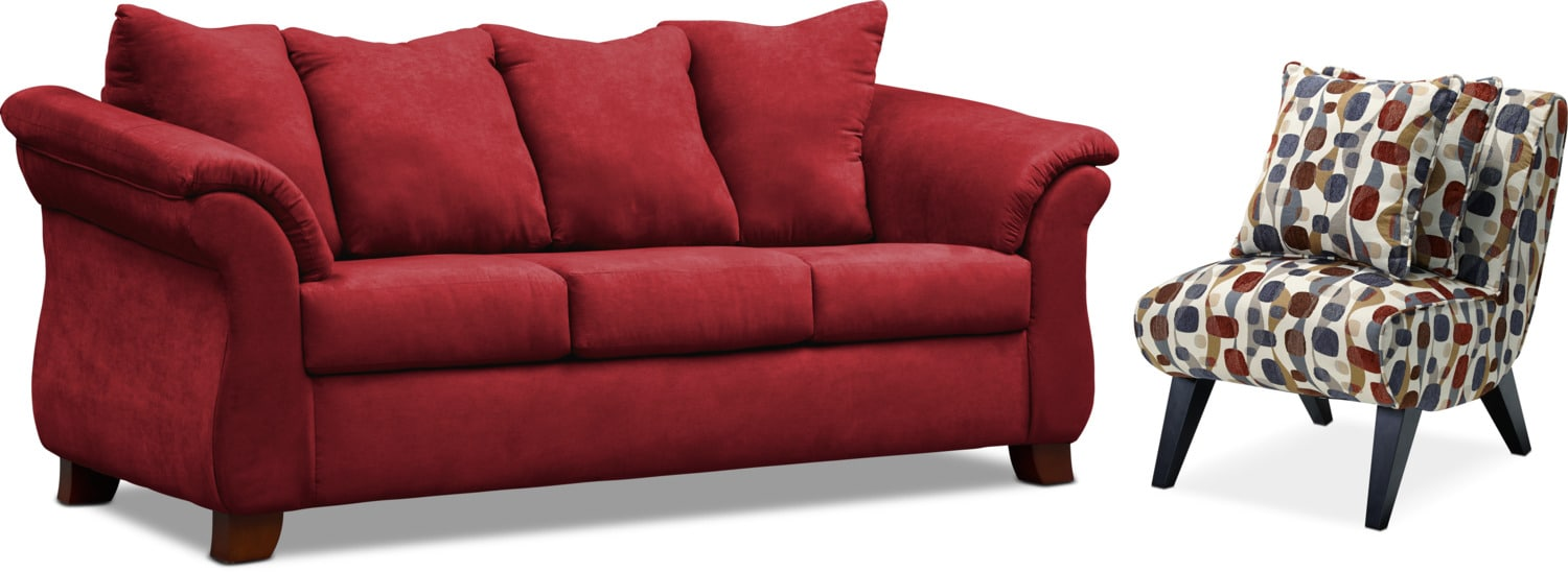 Living Room Furniture - Adrian Sofa and Accent Chair Set
