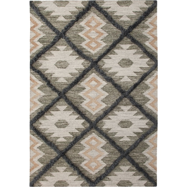 Rugs - Fes 5' x 8' Area Rug - Blue/Green