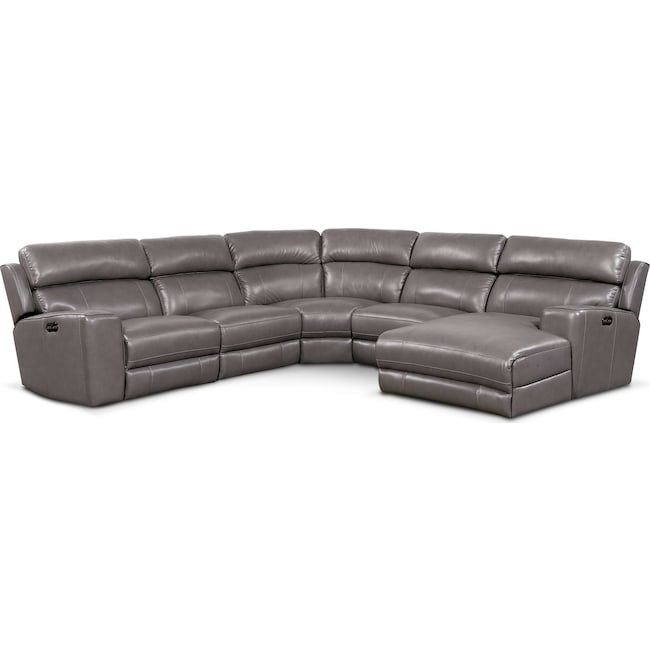 Living Room Furniture - Newport 5-Piece Dual-Power Reclining Sectional with Chaise and 2 Reclining Seats