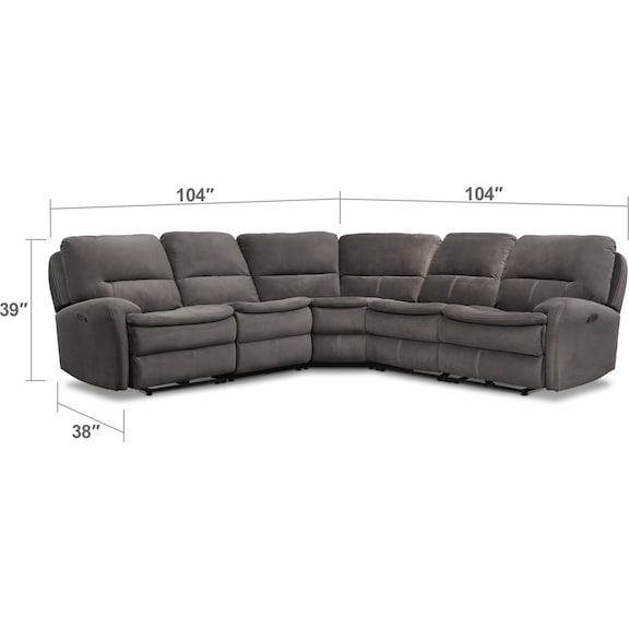 Living Room Furniture - Cruiser 5-Piece Manual Reclining Sectional with 3 Reclining Seats - Coffee