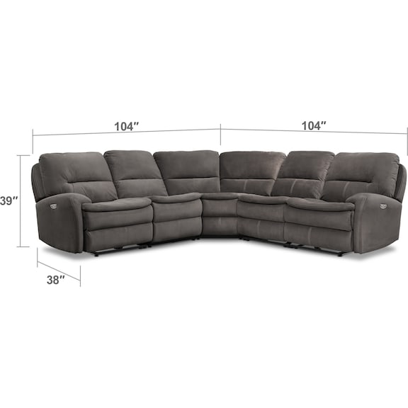 Living Room Furniture - Cruiser 5-Piece Dual Power Reclining Sectional with 3 Reclining Seats - Coffee