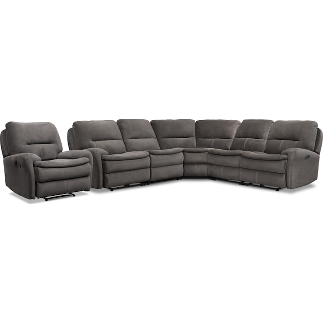 Living Room Furniture - Cruiser 5-Piece Manual Reclining Sectional and Recliner Set - Coffee