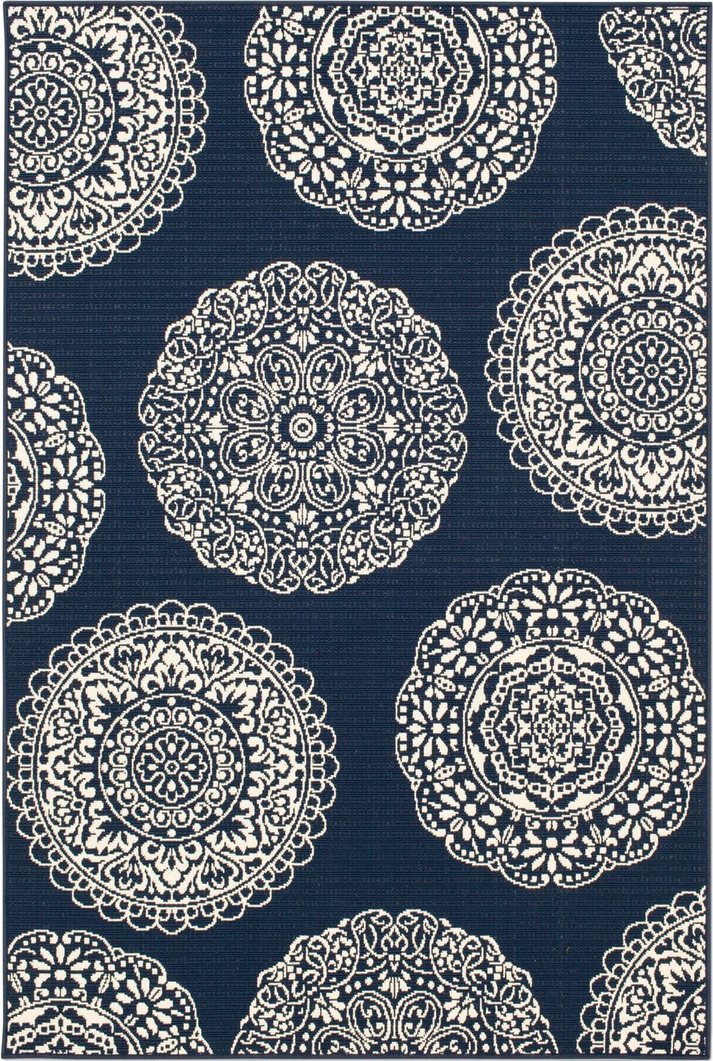 Outdoor Furniture - Anastasia Indoor/Outdoor Rug - Navy and Ivory