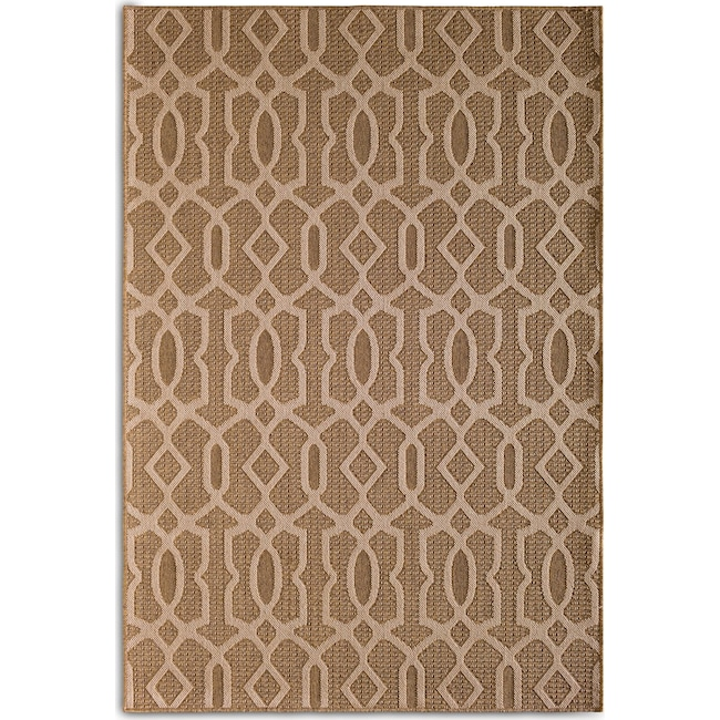 Outdoor Furniture - Fretwork 5' x 8' Indoor/Outdoor Rug - Brown