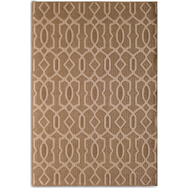 Outdoor Furniture - Fretwork 7' x 10' Indoor/Outdoor Rug - Brown
