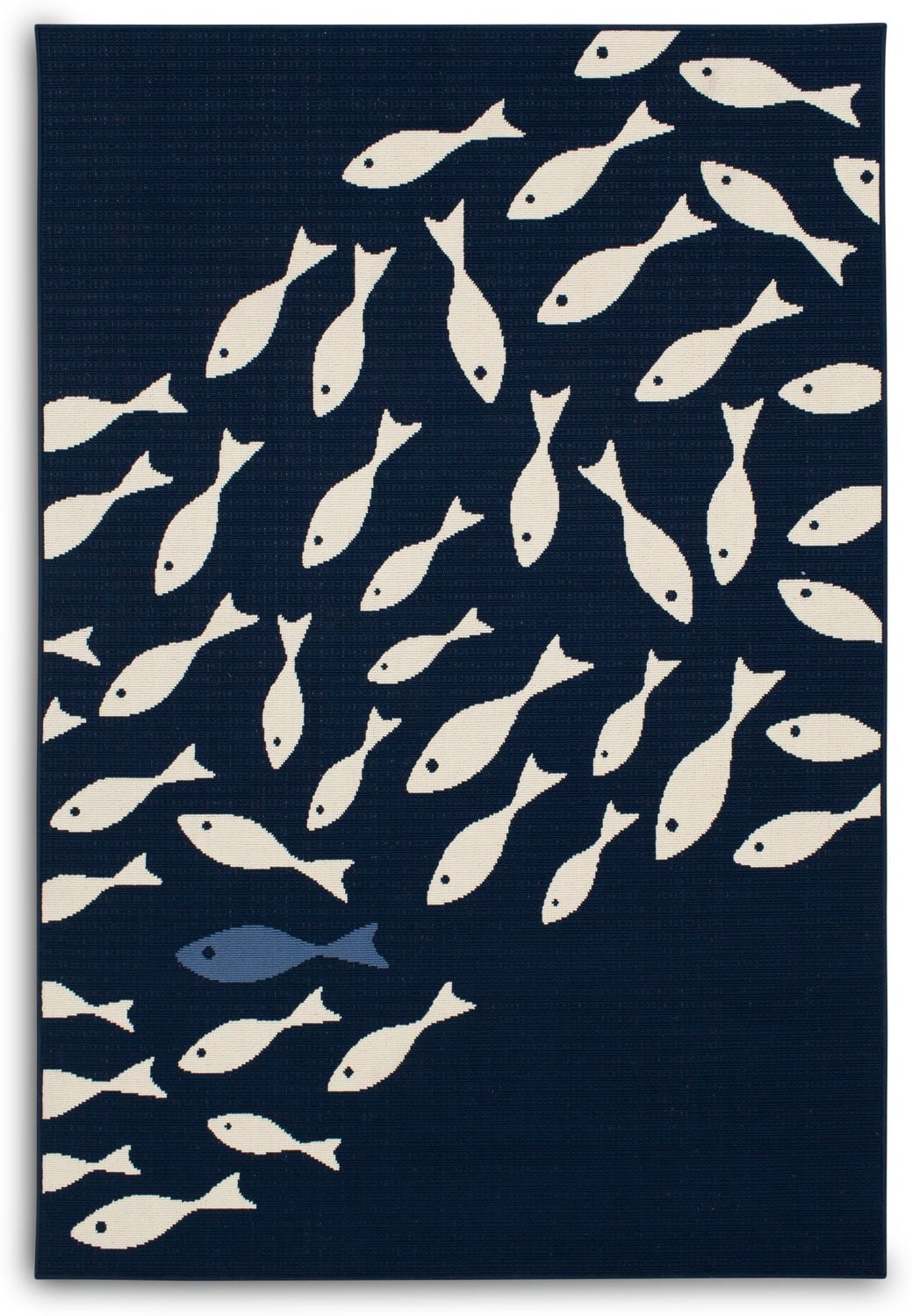 Outdoor Furniture - School of Fish Indoor/Outdoor Rug - Navy