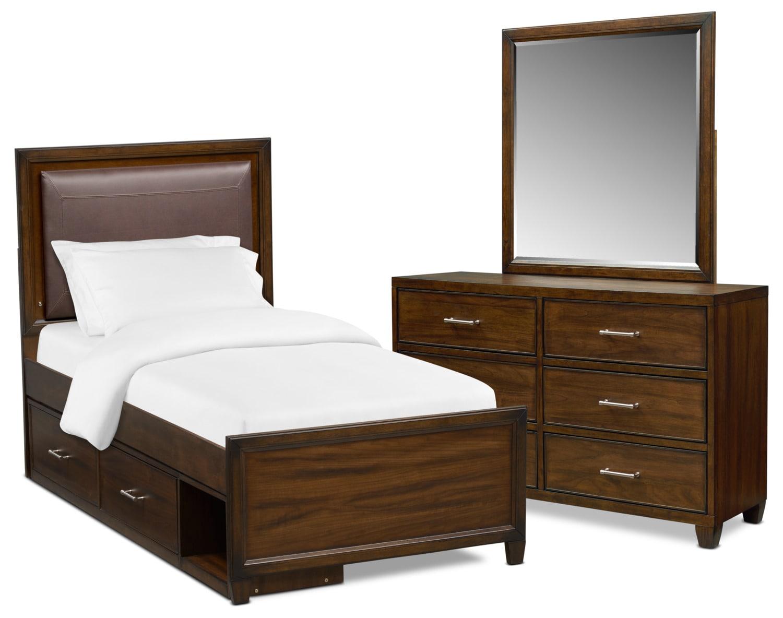 Sullivan 5-Piece Upholstered Storage Bedroom Set with Dresser and Mirror