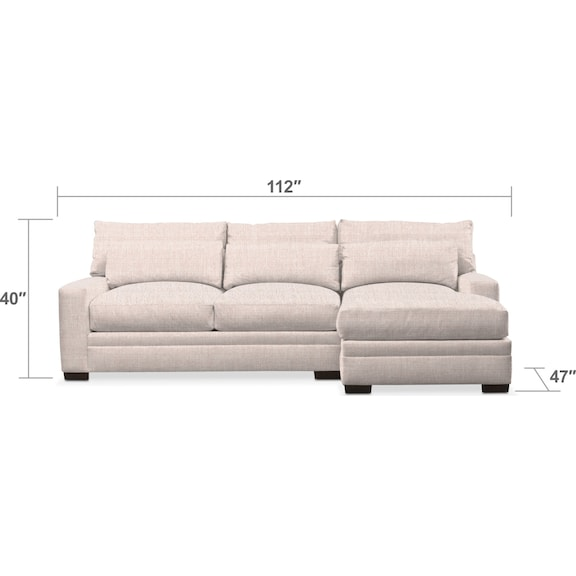 Living Room Furniture - Winston 2-Piece Sectional with Chaise
