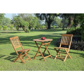Hampton Beach 3-Piece Outdoor Folding Bistro Set