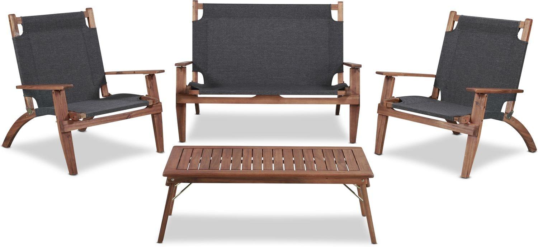 Outdoor Furniture - Nantucket 4-Piece Folding Outdoor Set