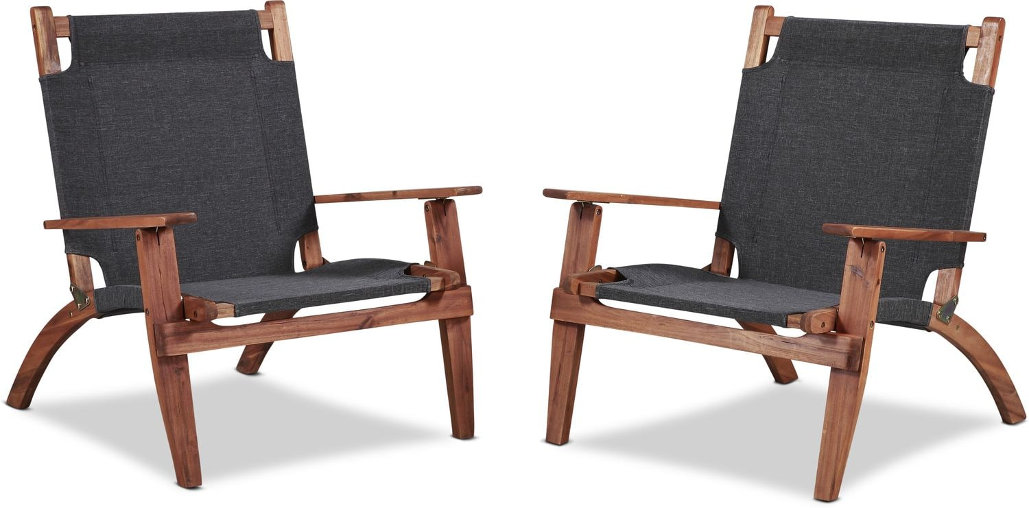 Outdoor Furniture - Nantucket Set of 2 Outdoor Folding Chairs - Brown