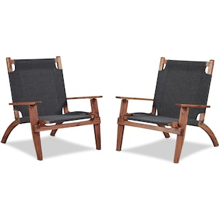 Nantucket Set of 2 Outdoor Folding Chairs - Brown