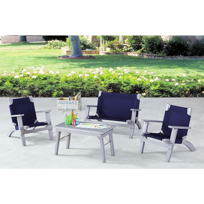 Outdoor Furniture - Nantucket 4-Piece Youth Outdoor Set - Gray