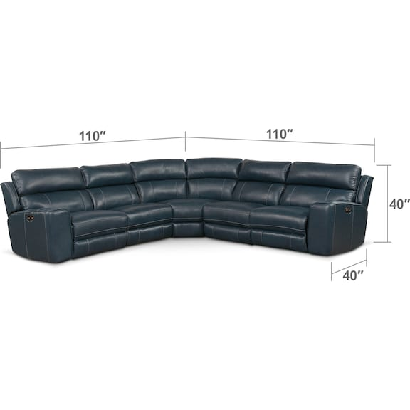 Living Room Furniture - Newport 5-Piece Power Reclining Sectional with 3 Reclining Seats