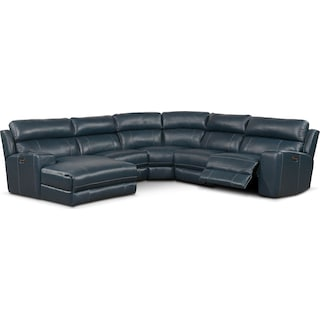Newport 5-Piece Dual-Power Reclining Sectional with Chaise and 1 Reclining Seat