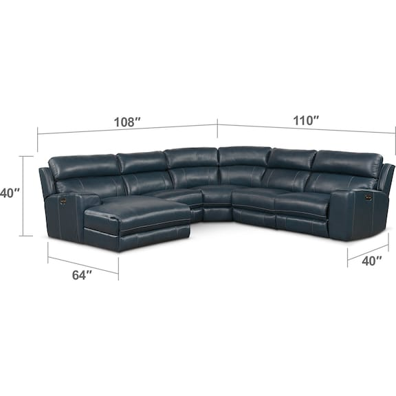 Living Room Furniture - Newport 5-Piece Dual-Power Reclining Sectional with Chaise and 1 Reclining Seat
