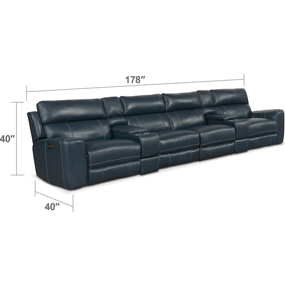 Living Room Furniture - Newport 6-Piece Dual-Power Reclining Sectional with 4 Reclining Seats