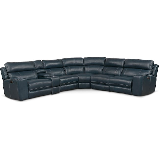 Living Room Furniture - Newport 6-Piece Power Reclining Sectional with 2 Reclining Seats