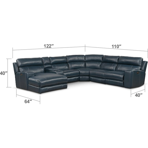 Living Room Furniture - Newport 6-Piece Power Reclining Sectional with Left-Facing Chaise and 2 Recliners