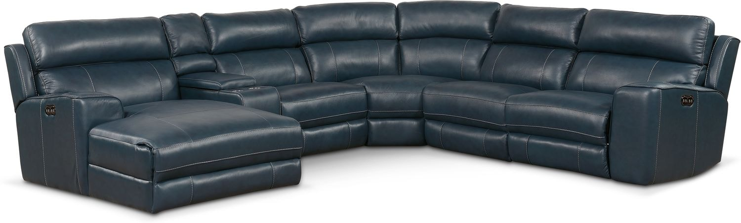 Living Room Furniture - Newport 6-Piece Power Reclining Sectional with Chaise and 1 Recliner