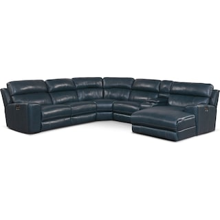 Newport 6-Piece Power Reclining Sectional with Right-Facing Chaise and 2 Recliners