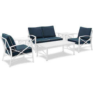 Clarion Outdoor Loveseat, 2 Chairs, Coffee Table, and 2 End Tables