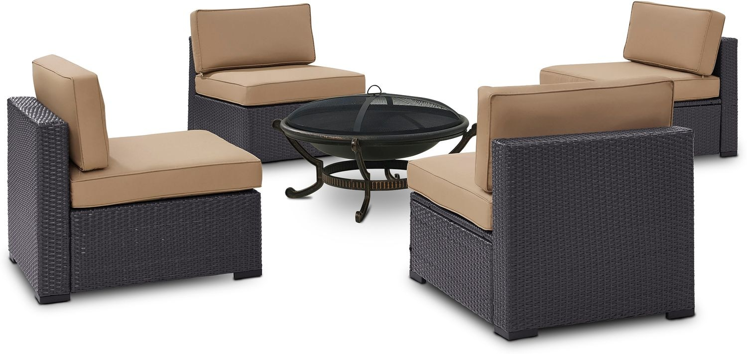 Outdoor Furniture - Isla Set of 4 Armless Chairs and Ashland Firepit - Mocha