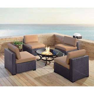 Isla Set of 4 Armless Chairs and Ashland Firepit - Mocha