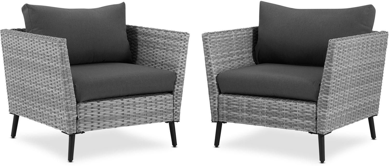 Outdoor Furniture - Ventura Set of 2 Outdoor Chairs - Gray