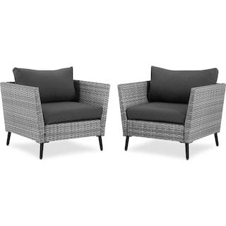 Ventura Set of 2 Outdoor Chairs - Gray
