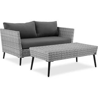 Ventura Outdoor Loveseat and Coffee Table Set - Gray