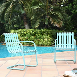 Janie Set of 2 Outdoor Chairs and Side Table - Caribbean Blue