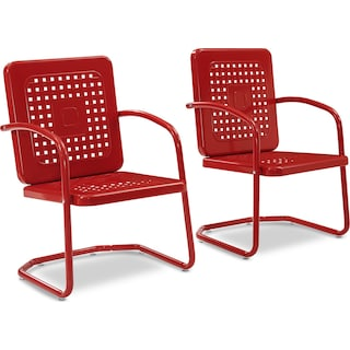 Preston Set of 2 Outdoor Chairs - Red