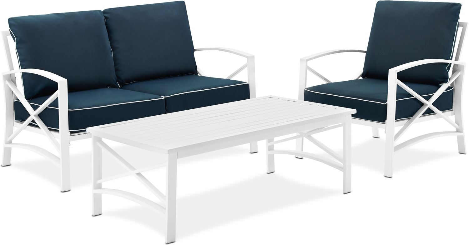 Clarion Outdoor Loveseat Chair And Coffee Table Set Navy