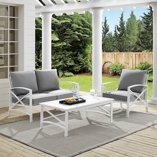 Clarion Outdoor Loveseat, Chair, and Coffee Table Set - Gray
