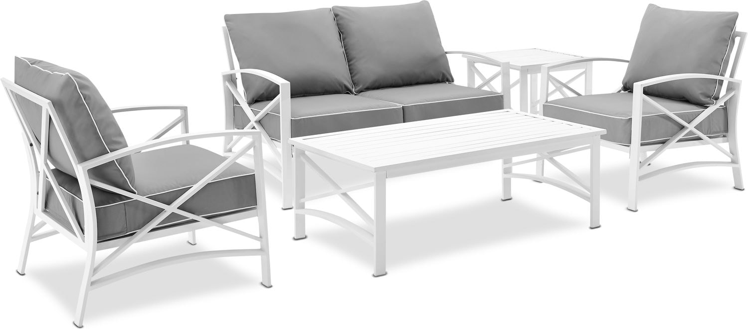Outdoor Furniture - Clarion Outdoor Loveseat, 2 Chairs, Coffee Table, and End Table Set