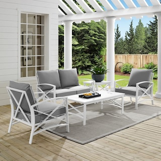 Clarion Outdoor Loveseat, 2 Chairs, Coffee Table, and End Table Set