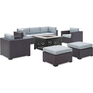 Isla 2-Piece Outdoor Sofa, 2 Armchairs, 2 Ottomans, and Tuscan Firetable