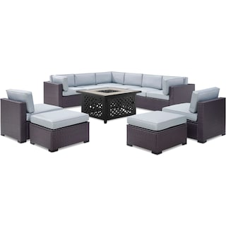 Isla 3-Piece Outdoor Sectional, 2 Armless Chairs, 2 Ottomans, and Tuscan Firetable - Mist