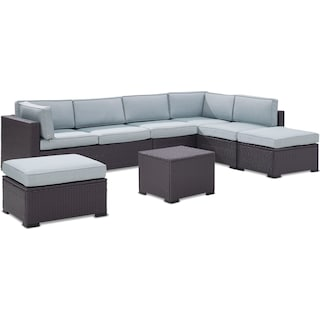 Isla 3-Piece Outdoor Sectional, Coffee Table, and 2 Ottomans