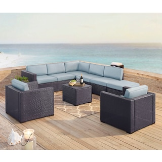 Isla 3-Piece Outdoor Sectional, 2 Armchairs, Coffee Table, and Ottoman Set - Mist